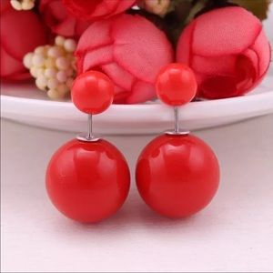 Red Double Pearl Stud Earrings